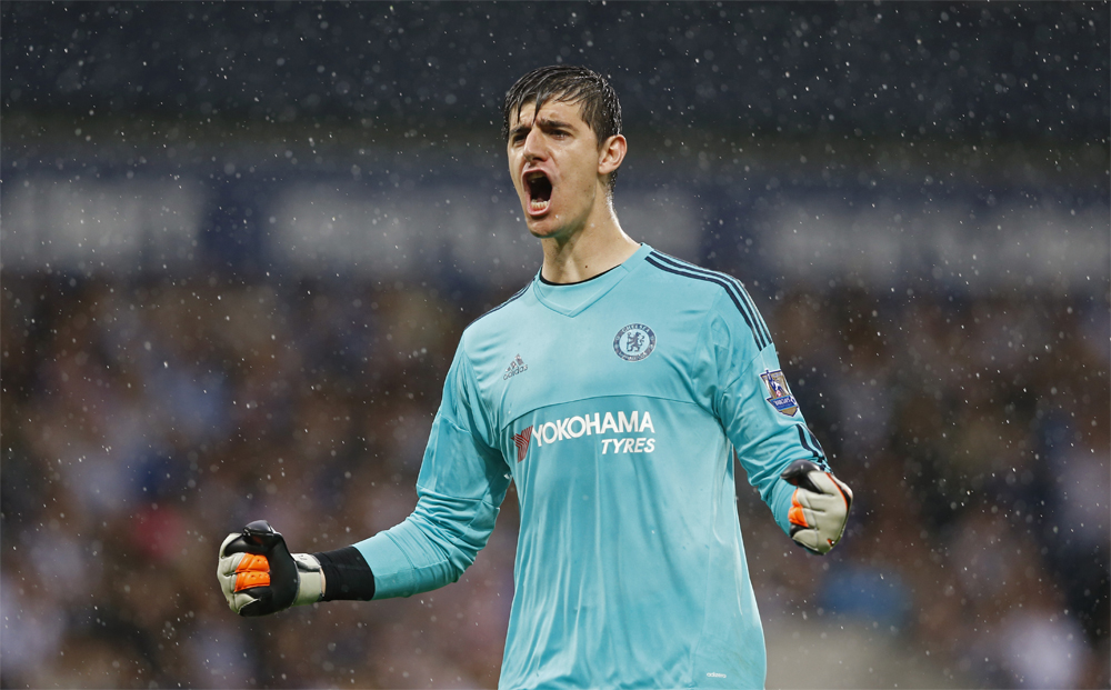 "150823, Fotboll, Premier League Football - West Bromwich Albion v Chelsea - Barclays Premier League - The Hawthorns - 23/8/15 Chelsea's Thibaut Courtois celebrates their second goal Action Images via Reuters / Carl Recine Livepic EDITORIAL USE ONLY. No use with unauthorized audio, video, data, fixture lists, club/league logos or ""live"" services. Online in-match use limited to 45 images, no video emulation. No use in betting, games or single club/league/player publications.  Please contact your account representative for further details. © Bildbyrån - COP 7 - SWEDEN ONLY"